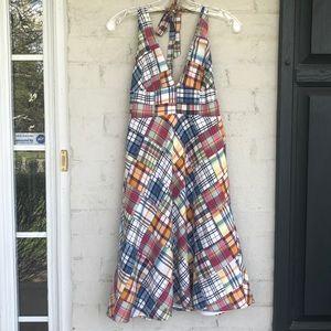 J. Crew patchwork madras plaid halter dress